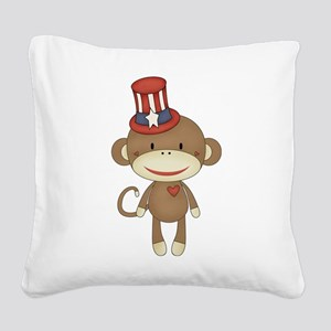 sock monkey 4th of july Square Canvas Pillow