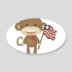 sock monkey with flag Oval Car Magnet
