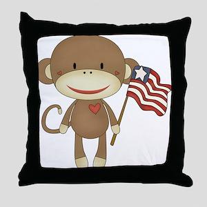 sock monkey with flag Throw Pillow