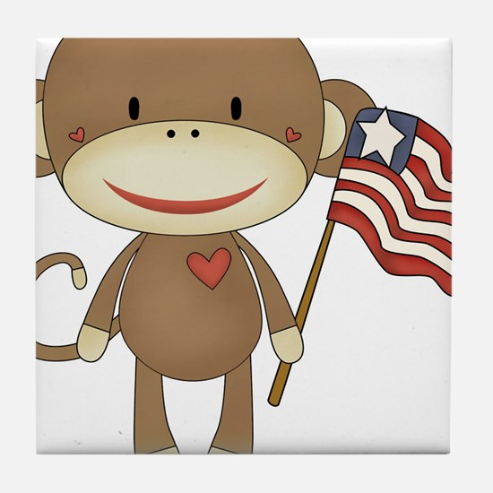 sock monkey with flag Tile Coaster