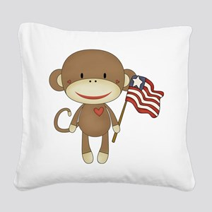 sock monkey with flag Square Canvas Pillow
