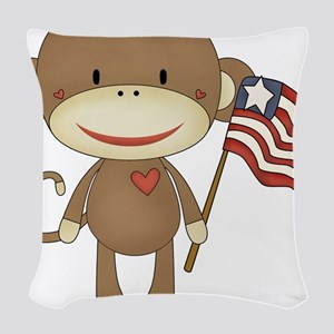 sock monkey with flag Woven Throw Pillow