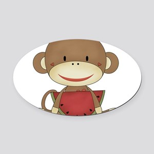 sock monkey with watermelon Oval Car Magnet