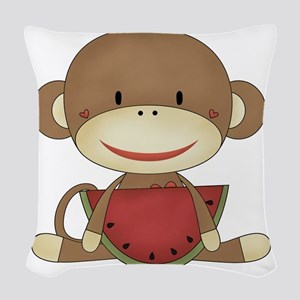 sock monkey with watermelon Woven Throw Pillow