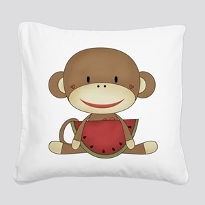 sock monkey with watermelon Square Canvas Pillow