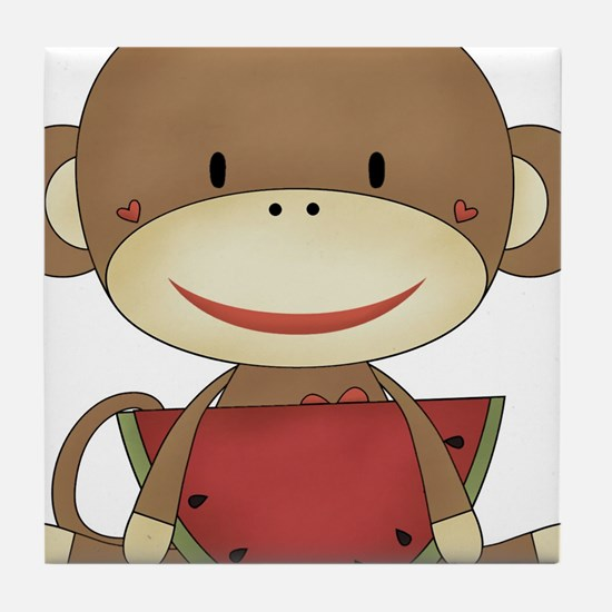 sock monkey with watermelon Tile Coaster
