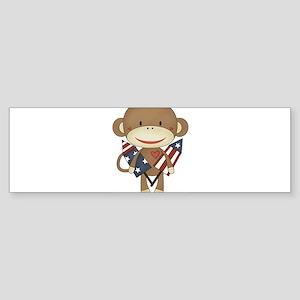 sock monkey with rocket Bumper Sticker