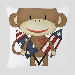 sock monkey with rocket Woven Throw Pillow