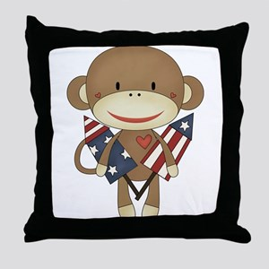 sock monkey with rocket Throw Pillow