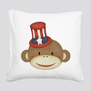 sock monkey with hat Square Canvas Pillow