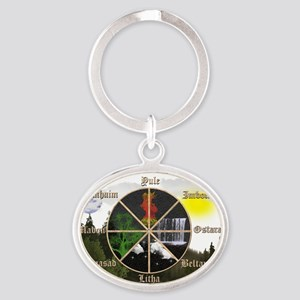 holidaysposter Oval Keychain