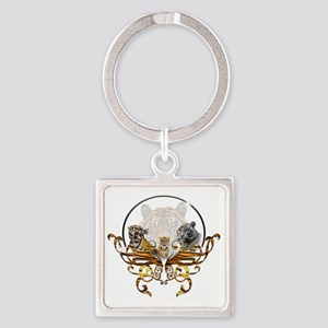 tigers Square Keychain