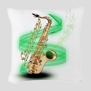 Saxophone wrap Woven Throw Pillow