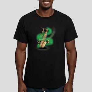 Saxophone wrap Men's Fitted T-Shirt (dark)