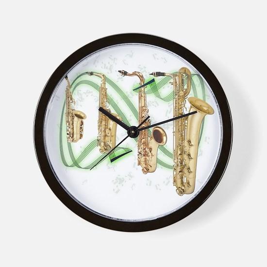 Saxophones Wall Clock