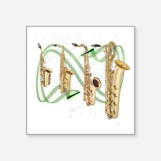 "Saxophones Square Sticker 3"" x 3"""