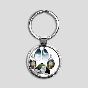 Wolf Print Round Keychain