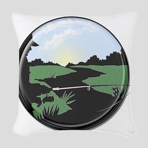 fishing button Woven Throw Pillow