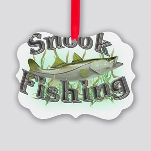 snook fishing Picture Ornament