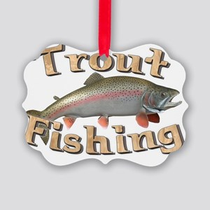 trout fishing Picture Ornament