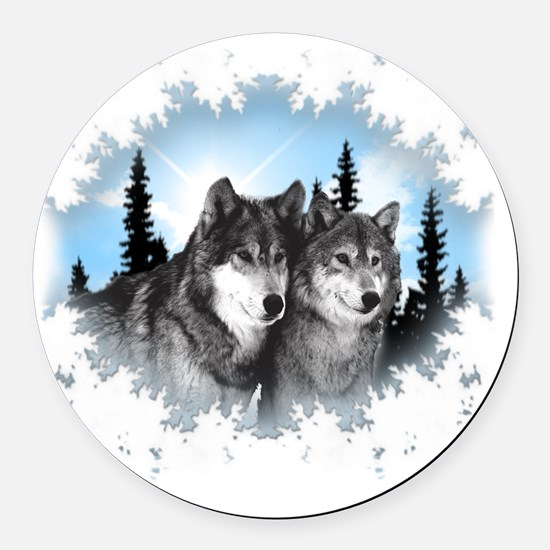 wolves Round Car Magnet