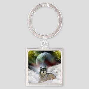 fantasy wolf Square Keychain