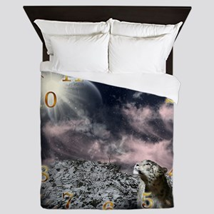 snow leopard clock Queen Duvet