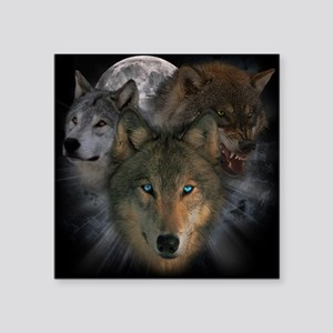 """2-wolves Square Sticker 3"""" x 3"""""""