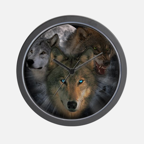 2-wolves Wall Clock