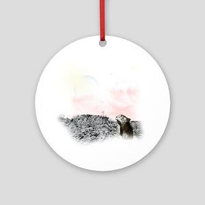 2-snow leopard Round Ornament