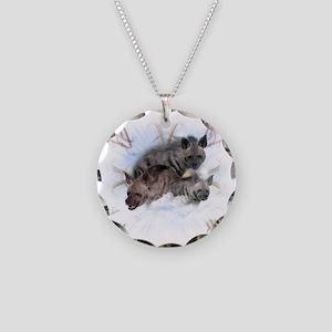 Striped Hyenas Necklace Circle Charm