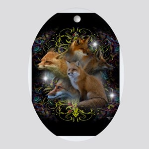Foxes Oval Ornament