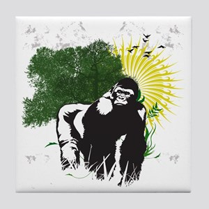 gorilla sunset Tile Coaster