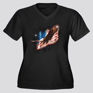 2-faded glor Women's Plus Size Dark V-Neck T-Shirt