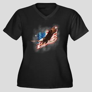 faded glory  Women's Plus Size Dark V-Neck T-Shirt