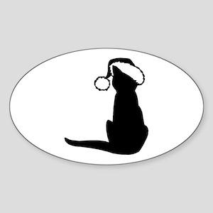 CAT N SANTA HAT Oval Sticker