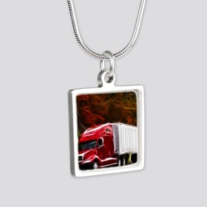 Highway to Hell Silver Square Necklace
