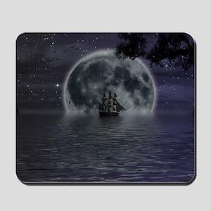 midnight cruise Large Mousepad