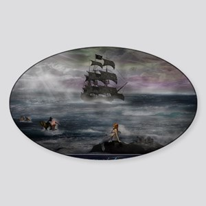 Mermaid Cove Large Sticker (Oval)