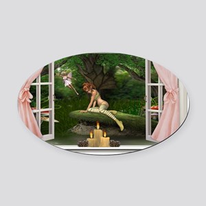 Fairy World Pink Oval Car Magnet