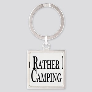Rather Be Camping Square Keychain