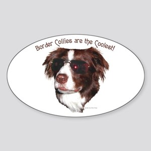 """Border Collie Cool"" Oval Sticker"