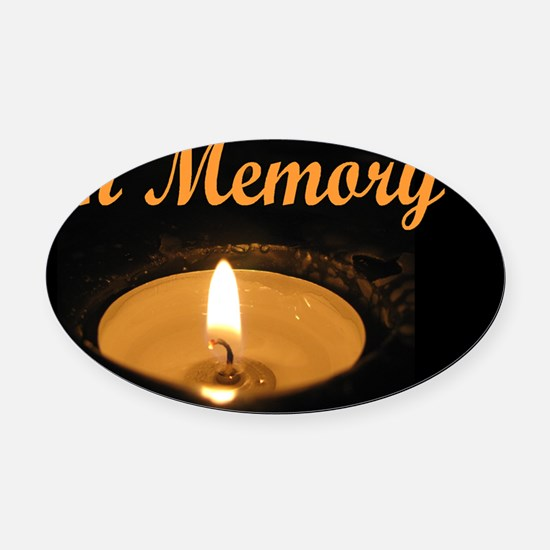 In Memory Wide Oval Car Magnet