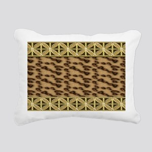 Cheetah  Gold Floral Orn Rectangular Canvas Pillow