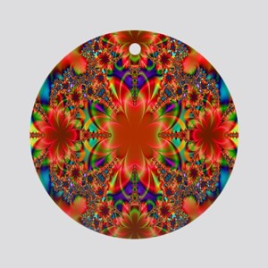 Gorgeous Blossoming Floral Fractal Round Ornament