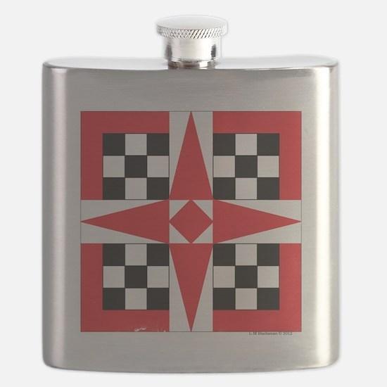 Quilt Design V-126 square w edge Flask