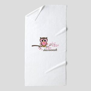 Custom Valentines Day owl Beach Towel