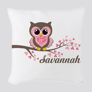 Custom Valentines Day owl Woven Throw Pillow