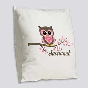 Custom Valentines Day owl Burlap Throw Pillow