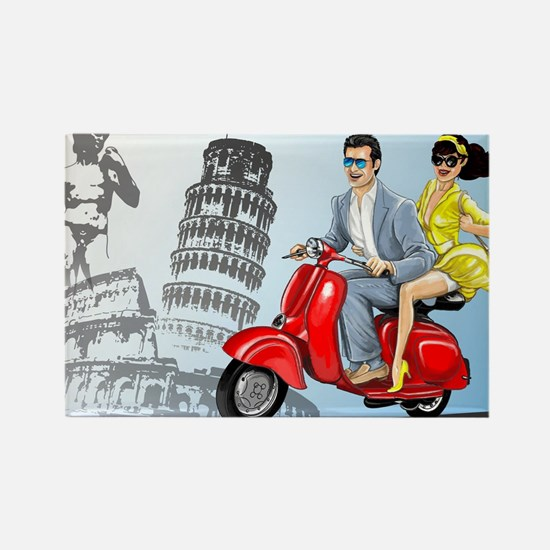 italian vespa romance Rectangle Magnet